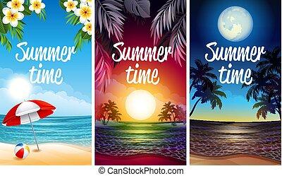 feestje, strand, spandoek