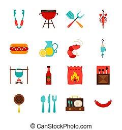 feestje, voorwerpen, bbq