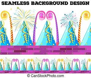 feestje, voorwerpen, ontwerp, seamless