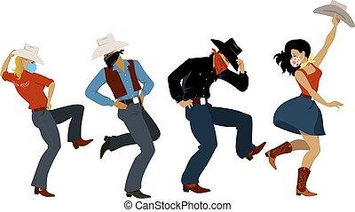 feestje, westelijk, dans