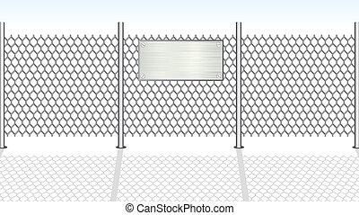 fence., vector, chainlink, illustratie