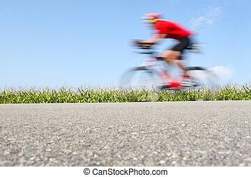 fiets, cornfield), motie, (focus, verdoezelen, het snelen