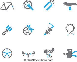 fiets, duo, iconen, -, onderdelen, toon