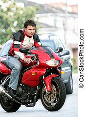 fiets, rood, man