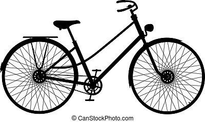 fiets, silhouette, retro