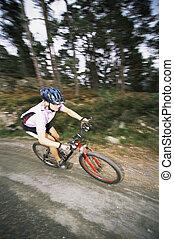 fiets, sporen, focus), buitenshuis, (selective, paardrijden, man