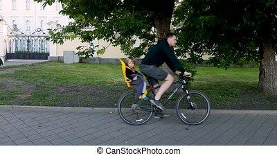 fiets stoel, veiligheid, kind, paardrijden, man