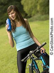 fiets, vrouw, dorstig