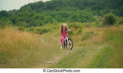 fiets, vuil, meisje, paardrijden, straat