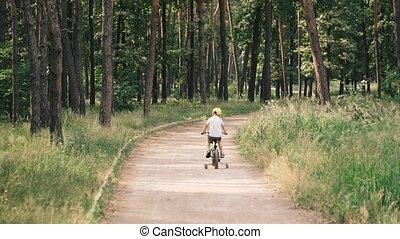 fietsende , bicycle., kind, kinderen, park