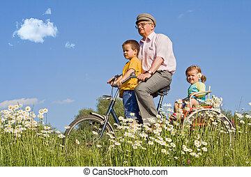 fietsende , opa