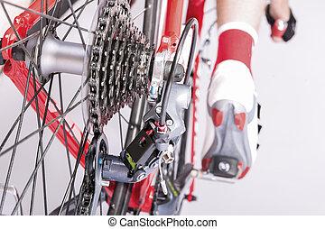 fietser, cycling, been, achterwerk, sprokets, ideas., cassette, derailleur, langs, overzicht., achterkant, closeup.