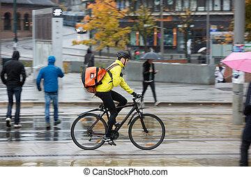 fietser, schooltas, straat, mannelijke