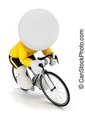fietser, witte , 3d, het snelen, mensen