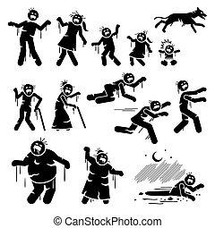 figuren, infected, stok, design., karakter, zombie, gezin