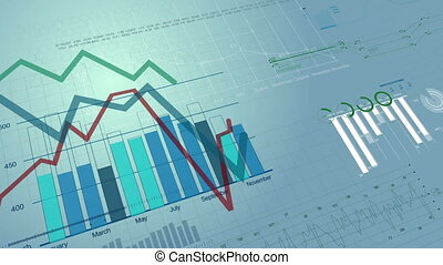 figuren, markt, achtergrond., groeiende, diagrammen, diagrammen, digitale , 1080., animatie, growing., hd, seamless, mooi, liggen, financieel, looped., 3d