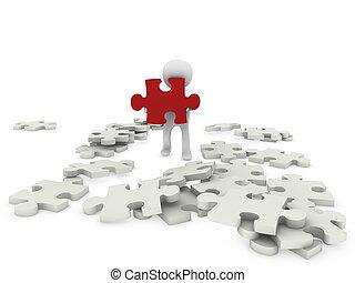 figuur, raadsel, 3d, persoon