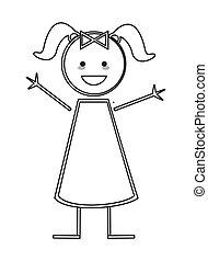 figuur, stok, meisje, vrolijke , vlechten, pictogram