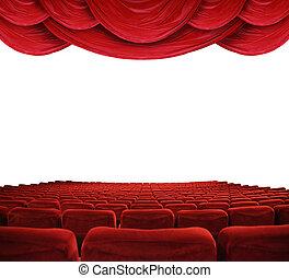 film, rode gordijnen, theater