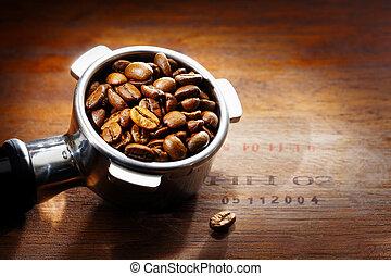 filter, espresso, koffie, metaal, bonen