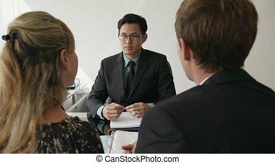 financieel, kantoor, 16, paar, moderne, jonge, klesten, adviseur