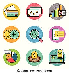 financieel, pictogram, zakelijk, set