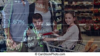 financieel, vrolijke , supermarket., shoppen , data, gezin, op, verticaal