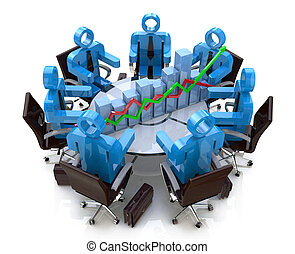 financieel, zakenlui, -, tabel, diagram, tafel, vergadering, ronde, 3d