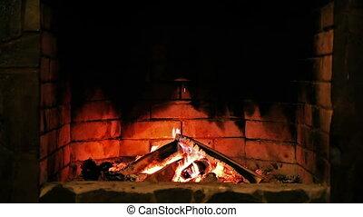 fireplace., flame., burning