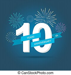 fireworks., jubileum, illustratie, vector, getallen, achtergrond, viering