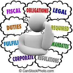 fiscaal, financieel, verplichtingen, wettelijk, gedachte, denker, wolken, plichten