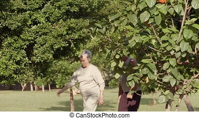 fitness, paar, oud, jogging