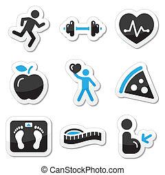 fitness, set, gezondheid, iconen