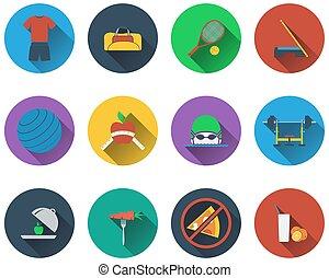 fitness, set, iconen