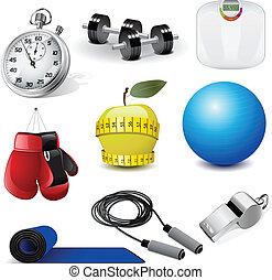 fitness, vector, iconen