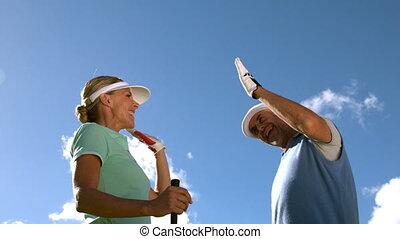 fiving, paar, golfing, g, hoog
