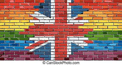 fl, vrolijk, groot-brittannië, muur, baksteen