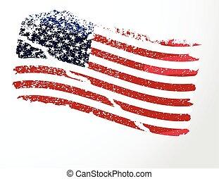 flag., amerikaan, grunge, usa