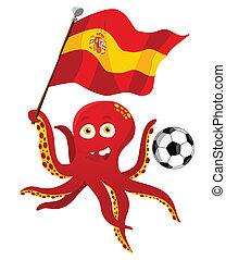 flag., speler, vasthouden, voetbal, octopus, spanje