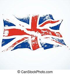 flag., vliegen, grunge, uk