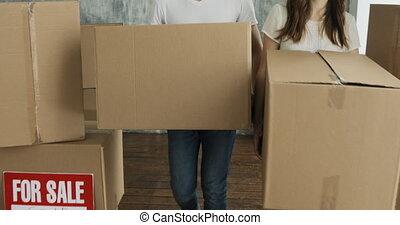 flat, paar, dag, dozen, verdragend, verhuizing, nieuw huis, of