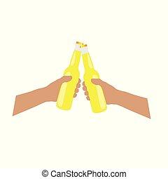 fles, beer, gele, illustratie, handen