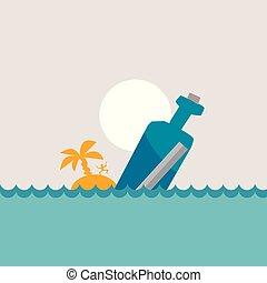 fles, boodschap, vector, illustratie, zee