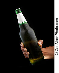 fles, hand, bier