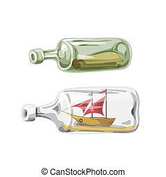 fles, illustratie, vector, scheeps , brief, zeerover