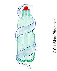 fles, mineraal water, achtergrond, witte , vrijstaand, plonsen