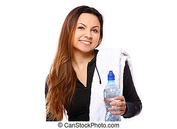 fles, mooie vrouw, het glimlachen, water