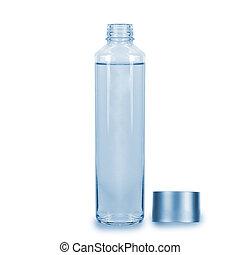 fles, wit water, achtergrond., glas, vrijstaand