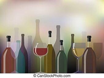 flessen, achtergrond, illustratie, vector, wijntje, glasses.