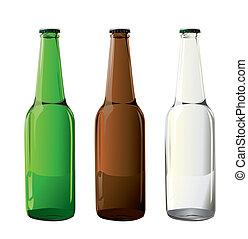 flessen, bier, vector